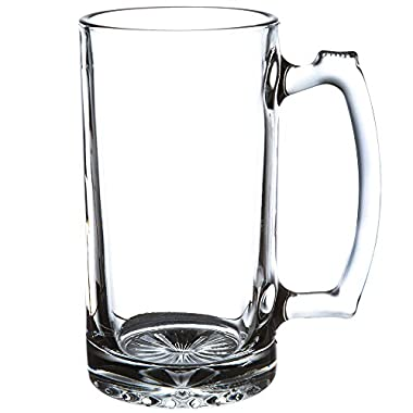 SUPER LARGE 7  TALL X 3.5  WIDE GLASS STEIN/MUG, 2.5 POUND, HEAVY-DUTY 24 OUNCE THICK CLEAR GLASS HOT/COLD DRINKING STEIN MUG CUP TUMBLER. USE FOR BEVERAGES LIKE COFFEE, TEA, BEER, WATER, SODA, ETC.