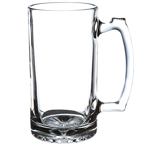 SUPER LARGE 7' TALL X 3.5' WIDE GLASS STEIN/MUG, 2.5 POUND, HEAVY-DUTY 16 OUNCE THICK CLEAR GLASS HOT/COLD DRINKING STEIN MUG CUP TUMBLER. USE FOR BEVERAGES LIKE COFFEE, TEA, BEER, WATER, SODA, ETC