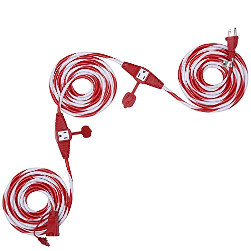 Dewenwils 25 FT Candy Cane Outdoor Extension Cord with Multiple Spaced Outlets Plugs, 16/3 SJTW Power Cord for Christmas Tree Lights and Holiday Decorations, UL Listed