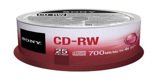 Sony 25CRW80SPM CD-RW 4X 700MB Spindle Rewritable CD, 25-Pack