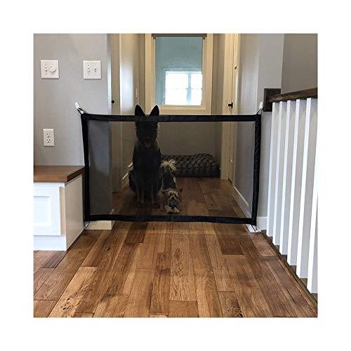 Haustier Hund Tor Safe Guard tragbare Falten Zaun Hundesicherheits-Pet Tor Hund Zäune Magic Gate Pet Gates-Hundeprodukte (Color : Black, Size : 180x75cm)