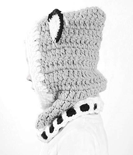 Richoose Winter-warme Coif Haube Schal-Kappen-Hut Earflap Fox gestrickte Wolleschal-Kappen-Hüte für Baby-Kinder Mädchen-Jungen, Grau - 3
