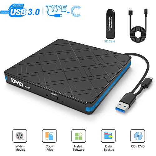 TedGem External CD DVD Drive, Type-C USB 3.0 Portable CD-ROM/DVD-RW CD Drive for Laptop, Burner Reader High Speed Data Transfer DVD Drive for Windows XP / 7/8/10/Linux (Gift: With A Card Reader)
