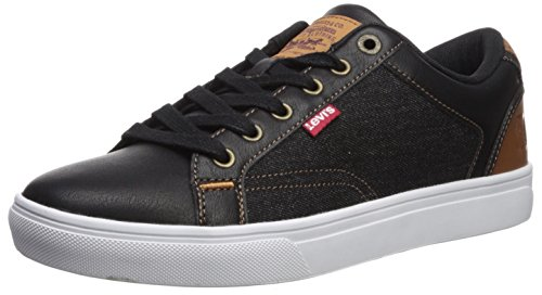 Levis Men's Jeffery 501 Denim Sneaker, Black/Tan, 10.5 M US
