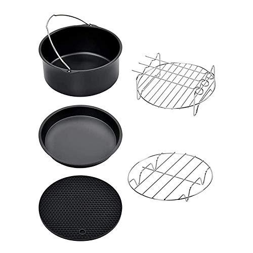 Heritan 15 cm Air Freidora Accesorios para hornear tartas Pan Pizza Pan Grill Rack para todos 3.2QT – 5.8QT Airfryer, juego de 5
