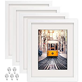 Picture Frames 8x10 Picture Frames Set of 4,Display Pictures 5x7 with Mat or 8x10 Without Mat,Multi Photo Frames Collage for Wall or Tabletop Display,white