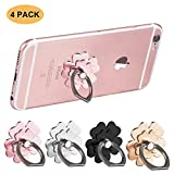 Phone Ring Stand Finger Holder Grip Rings 360° Rotation Cell Phone Kickstand Compatible with Samsung Galaxy iPhone LG HTC Google Nexus Tablet Smartphone (4 Pack Flower)