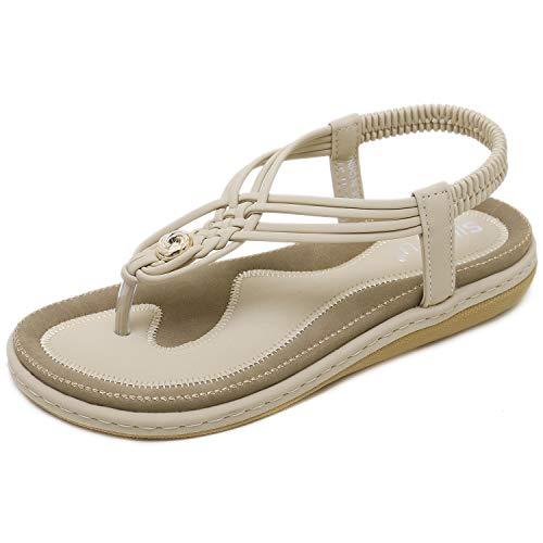 JIANKE Sandalias Mujer Verano Planas Bohemia Sandalias Cómodo Casual Zapatos de Playa