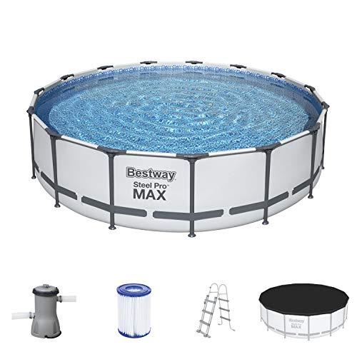 Steel Pro Max Frame Pool Komplett-Set, rund, mit Filterpumpe, Sicherheitsleiter & Abdeckplane 457 x 107 cm
