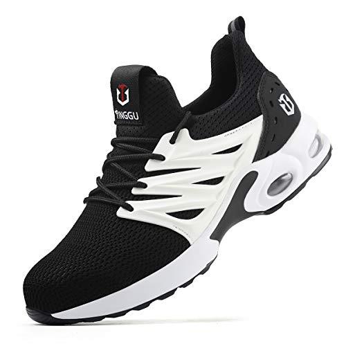 YISIQ Sicherheitsschuhe Herren Damen S3 Arbeitsschuhe Leicht sportlich Atmungsaktiv Schutzschuhe mit Stahlkappen Sneaker,09 Weiß,42 EU