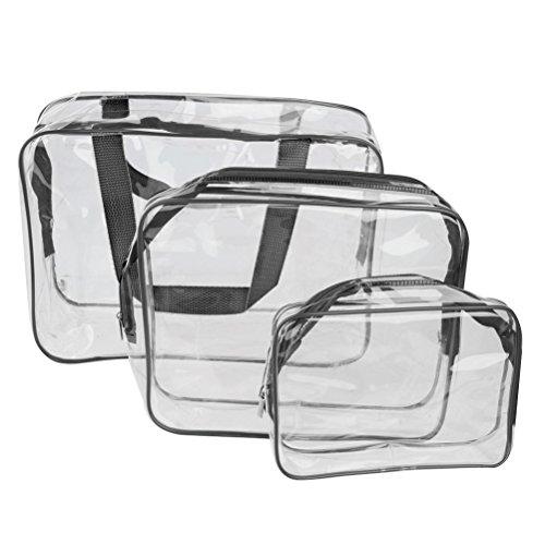 WINOMO - Borse e borsette in PVC trasparente, per cosmetici e toilette, organizzatore 3 in 1, colore: nero