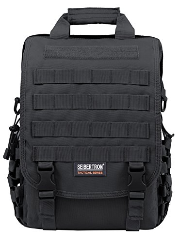 Seibertron waterproof Molle Tactical 15.6'(inch) Laptop Sling BAG Backpack Black