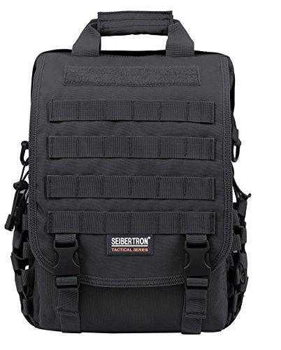 "Seibertron Waterproof Molle Tactical 15.6""(inch) Laptop Sling Bag Backpack Black"