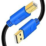 プリンターケーブル6M、Hanprme USB 2.0高速ゴールドメッキコネクタプリンタースキャナーケーブルコードHPオス、キヤノン、レックスマーク、デル、ゼロックス、サムスンなどのオス-Bオス(6M / 20Ft、ブルー)