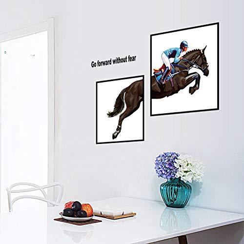 Grote Riding Paard Foto Frame Decoratie Schilderij Muurstickers Woonkamer Slaapkamer Huis Muren DIY 3D Art Decals