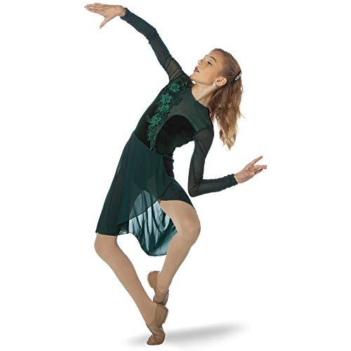 Alexandra Collection Velvet Long Sleeve Skirt Leotard Lyrical Contemporary Dance Dress Forest Green