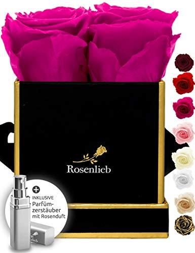 Rosenlieb Rosenbox mit 4 Infinity Rosen (3 Jahre haltbar) | Echte konservierte Blumen | Flowerbox Inkl. Grußkarte | Geschenk Box für Frauen, Freundin, Weihnachten (Square Bravo Schwarz, Pink)