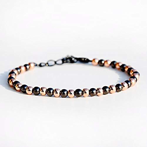 Braccialetto Braccialetto con Perline di Rame Bracciale Fatto A Mano Bracciale Nero per Uomo Donna Accessori Moda Braccialetto Abl070-4