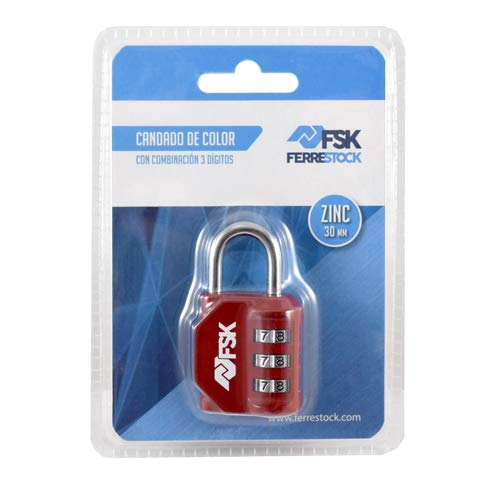 Ferrestock FSKCAN327RD Candado de combinación numérico con 3 dígitos para equipaje, taquillas de gimnasio, arco 23mm, Fabricado en zinc y arco de acero, color rojo