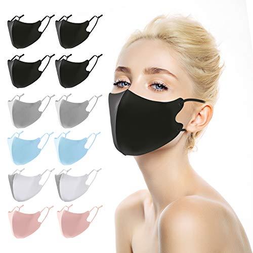 ANEAR Mund Nasenschutz, 12 Stück Erwachsene Mundschutz Waschbar (Schwarz, Weiß, Blau, Grau, Rosa)