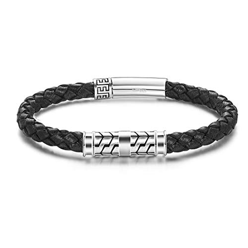 Carleen Destination 925 Sterling Silver Genuine Mens Leather Bracelet Braided Rope Energy Charm Push Button Locking Clasp, 7.5' Brown/Black (Black - 8.30')