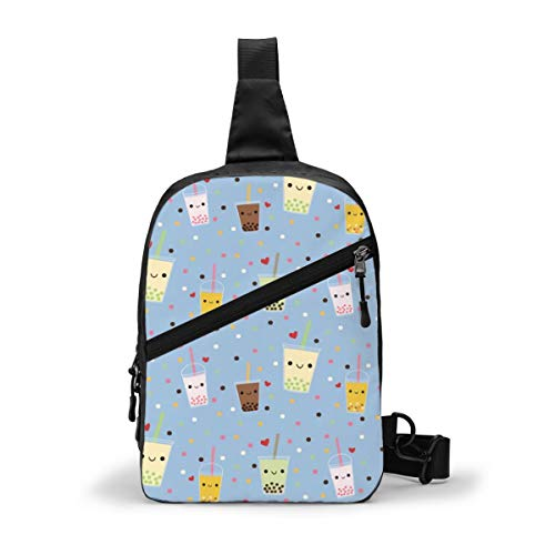 Happy Boba Bubble Tea Chest Package Multipurpose Crossbody Outdoor Shoulder Bag Daypack Sling Backpack Large Capacity Casual Sport Rucksack for Hiking Travel Sport