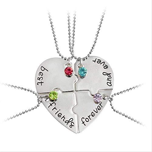 niuziyanfa Co.,ltd 4 unids/Set Best Friends Forever and Ever Collares Pendientes en Forma de corazón Color Rhinestone Girls Recuerdo