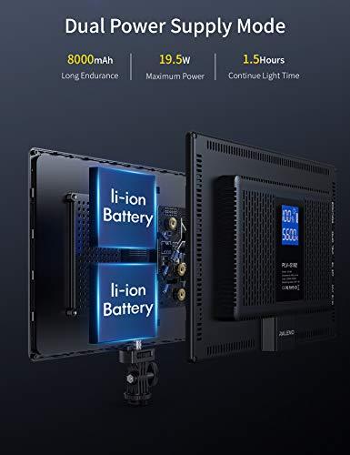 RALENO LED Videoleuchte, Dimmbare Flächenlicht 3200k-5600k Farbtemperatur CRI 95 + Ultradünnes Licht mit LCD-Display Eingebaute 8000mAh Lithium-Batterie für alle digitalen DSLR-Kameras und Camcorde