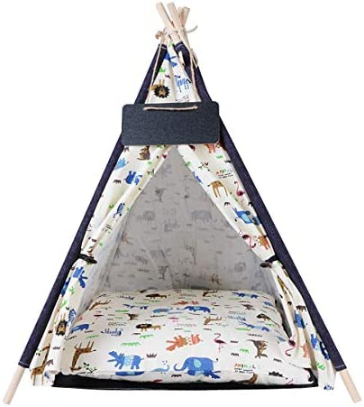 AnRu Dog Teepee Bed with Cushion Blackboard Portable Pet Teepee Cat Puppy Tents Houses for Small product image