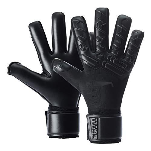 T1TAN Black Beast 2.0 Torwarthandschuhe für Erwachsene, Fußballhandschuhe Herren Innennaht und 4mm Profi Grip - Gr. 9