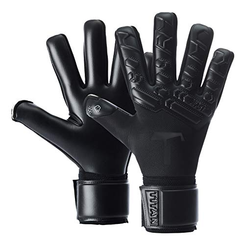 T1TAN Black Beast 2.0 Torwarthandschuhe für Erwachsene, Fußballhandschuhe Herren Innennaht und 4mm Profi Grip - Gr. 10