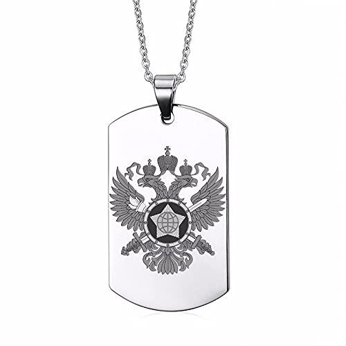Astemdhj Collares para Hombre Colgantes Joyería Estrella Eslava De Rusia Etiqueta De Perro De Acero Inoxidable Guardián Estrella Cuadrada Símbolos Rusos Iconos Collar Personalizado para Hom