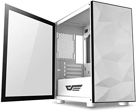 darkFlash Micro ATX Mini ITX Tower MicroATX Computer Case with Magnetic Design Wide Open Door Opening Tempered Glass Swing Type Side Panel (DLM22 Black)