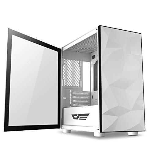 darkFlash Micro ATX Mini ITX Tower MicroATX Computer Case with Magnetic Design Wide Open Door Opening Swing Type Tempered Glass Side Panel (DLM21 White)