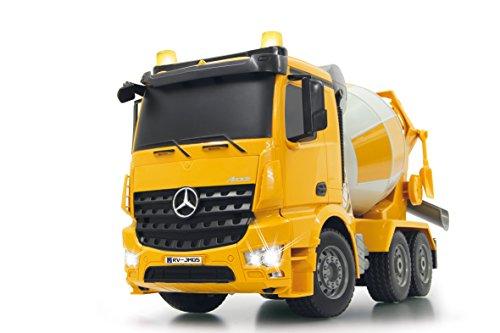 Jamara 404930 - Betonmischer Mercedes Arocs 1:20 2,4GHz - rechts / links drehende Mischtrommel mit Entladefunktion, realistischer Motorsound,Hupe,Rückfahrwarnsound,4 Radantrieb,gelbe LED Signallichter
