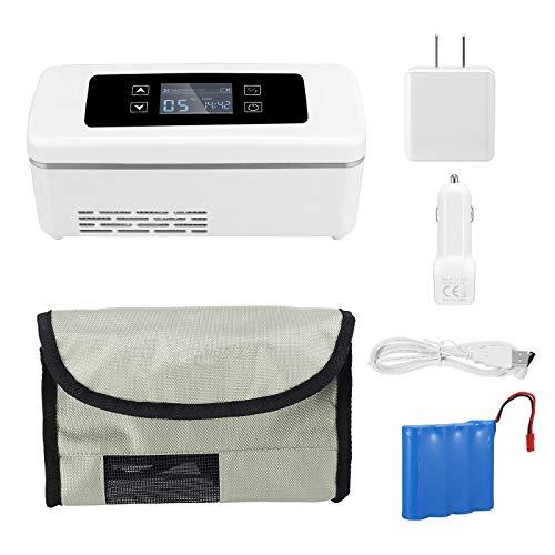 TTLIFE Enfriador de insulina portátil Recargable 2 ℃ -25 ℃ Mini refrigerador médico Ajustable 15H Mini refrigerador de Trabajo para medicamentos para automóvil/Viaje (175 * 56 * 26 mm)