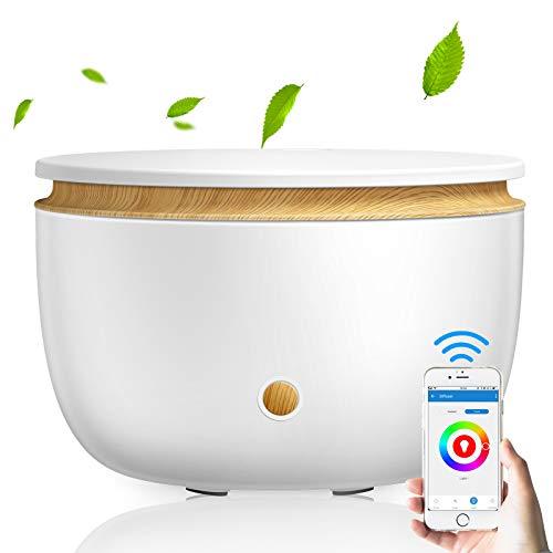 Humidificador de 500 ml, aceites esenciales, difusor de aromas por ultrasonidos, con aplicación WiFi controlable, función de temporizador WiFi para dormitorio de bebé, dormitorio