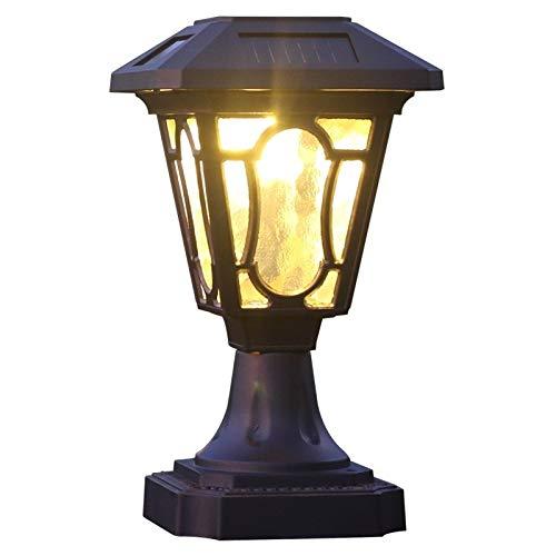 Wylolik Solarenergie im Freien wasserdichten Säule Pfosten-Lampenaluminiumregenschutz Nichtrostender Glas Laterne Säule Lampe Hof Garten Außen Pedestal Lampe Tür Stigma Lampe (Größe : 18.5cm*47cm)