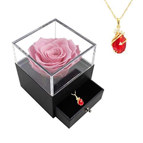 Rosa Preservada con Collar, Flor Eterna con Joyería Regalo para Ella/Esposa/Novia/Mamá en Cumpleaños/Aniversario/Día de la Madre