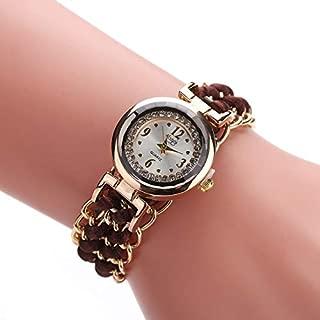 JIANGNIAU Watches 377 Women Knitting Rope Chain Quartz Wrist Watch(Black) (Color : Darkbrown)