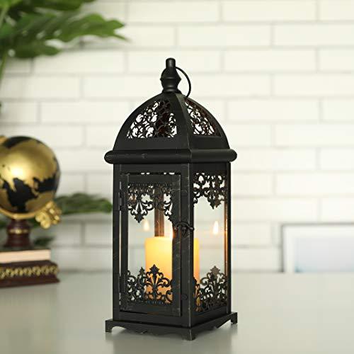 JHY DESIGN Lanterna Decorativa A Candela Lanterna In Metallo Alta 38 Cm Lanterna Sospesa In Stile Vintage Per Esterni, Eventi, Feste, Matrimoni (Nero Con Pennello Dorato)