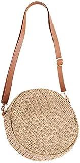 TOOGOO Round Shoulder Bag Summer Beach Travel Straw Bag Large Crossbody Bag for Women Hand Made Knitting Criss-Cross Messenger Bag Beige