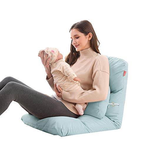 Silla de Piso Plegable con Respaldo Ajustable de 5 Equipos, sillas de Piso con Respaldo para Adultos Alimentando artefactos para bebés Silla de Lactancia Cintura Almohada,S