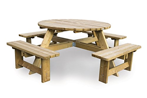 Picknicktisch rondo 'Luxus' 140 cm (8 Personen) , runder Picknicktisch aus 40 mm FSC Fichtenholz, druckimprägniert