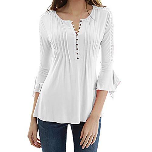 MRULIC Herbst Tops Damen Sommer Bauchfrei 3/4 Flare Sleeve Slim Bluse Damen Elegant (Weiß,EU-42/CN-2XL)