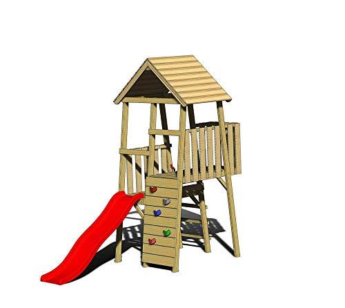 Wendi Toys Spielturm Hase Stelzenhaus Kletterturm inkl. Rutsche & Kletterwand
