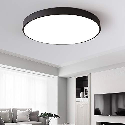 LZNKL Lámpara de Techo Redonda, Led, Lámpara de Pasillo Moderna Simple, Lámpara de Sala de Estar de Dormitorio, Lámpara de Techo de acrílico Redondo Blanco y Negro, LED-black-D40cm 18W 2-Color