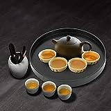Rundes Tablett Rund Serviertablett Schwarzes Frühstück Kaffee Cup Teetablett Badezimmer Tablett klein Deko Tablett für Café, Bar, Restaurant 30cm - 9