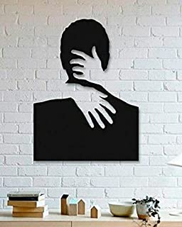 Retailio Acrylic Hugging Couple Wall Art For for Living Room, Bedroom Wall, Home and Office - Black