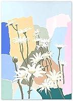 抽象的な壁の芸術アートポスター抽象的なデイジーの花のポスター北欧の水彩花の写真保育園の寝室の装飾40x60cmフレームなし
